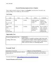 MCS 2100 Personal Financial Planning Assignment