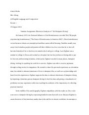 Interview Essay Paper  Pages Anton Analysis Papeldoc Writing Assignments For Esl Students also Essay For Health Dumpster Divingdocx   On Dumpster Diving Dumpster Diving Is An  Business Essay Example