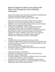 Natural Support Systems and Coping with Major Life Changes by Hirsch Reading Homework