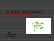 L5 Nation and Nationalism