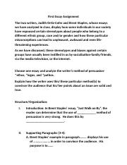 First Essay Assignment English 101 202.docx