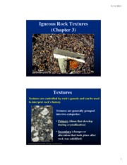 Igneous Textures and Class Distribution