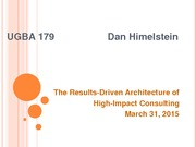 UGBA 179 International Consulting for SME's: The Results-Driven Architecture of High-Impact Consulti
