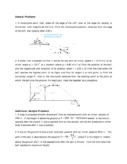 kinematics additional sample problems