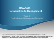 Week 3  The Evolution of Management Thoughts (Sunway)