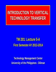 201-5-A_Intro to Vertical Technology Transfer_I-13-14.ppt