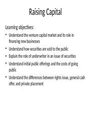 Lecture - Raising Capital and Dividend Policy