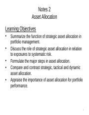 Notes 2 Asset Allocation