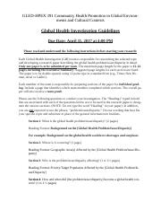 Global Health Investigations Guidelines