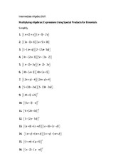 Math 0010 Multiplying Algebraic Expressions Using Special Products for Binomials quiz