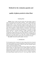 Methods for the evaluation of glutein protein in wheat flour