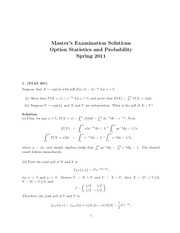 Statistics and Probability Solution Option Exam Spring 2011