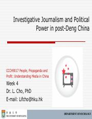 CCCH9017 Week 4 Investigative Journalism Outline