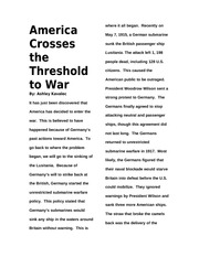 America Crosses the Threshold to War Article