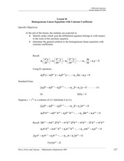 Homogeneous Linear Equations with Constant Coefficients