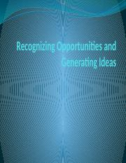 Recognizing Opportunities and Generating Ideas 11-2