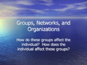 Groups, Networks, and Organizations