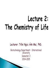 L2 - The Chemistry of Life - 060215