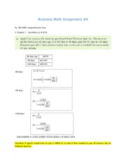 Business Math Assignment 5 solutions