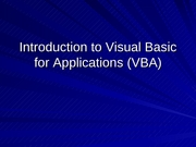 Lecture 15 - Introduction to VBA
