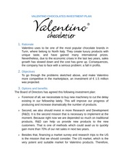 VALENTINO CHOCOLATES INVESTMENT PLAN