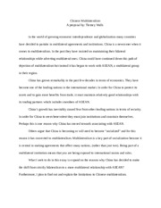 Chinese Multilateralism Essay