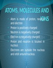 W3 - ATOMS, MOLECULES AND IONS