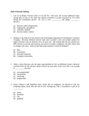MCQ Exercises (Topic 6 Decision Making) student 20131105