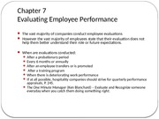 Chapter 7-Evaluating  Employee Performance