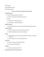 Prevention and Treatment for Drugs in Adolescents Notes