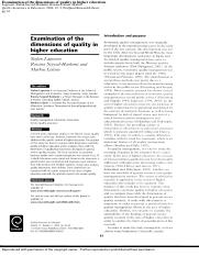 Examination of the dimensions of quality in higher education