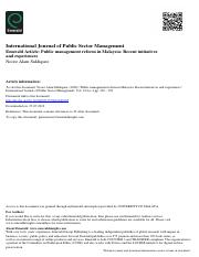 Reading 13- Public_management_reform in Malaysia_ Siddique 2006