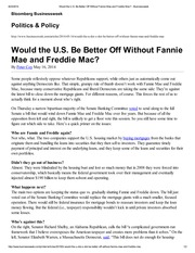 Would the U.S. Be Better Off Without Fannie Mae and  Freddie Mac - Businessweek