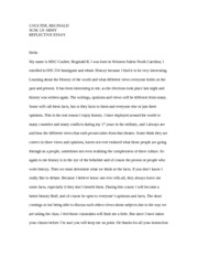 reflective essay HIS 330