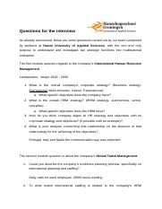 Company interview for HRM group assignment
