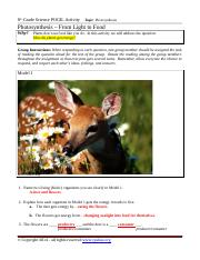 POGIL Lesson on Photosynthesis with Energy Extensions ANSWER SHEET