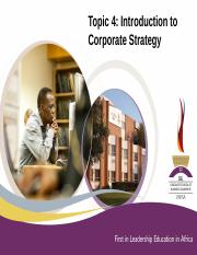 Topic 4 Introduction to corporate strategy