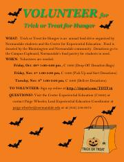 Flyer for Trick and Treat for Hunger Fall 2016