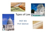 MGT 401 - Types of Law