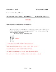 Chem 1A03 Midterm 1 (Fall 2008) (Answers)