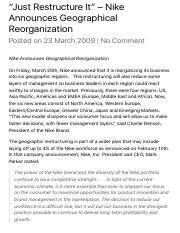 """Just Restructure It"" – Nike Announces Geographical Reorganization 