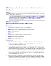 IFRIC Interpretation 15 Agreements for the Construction of Real Estate