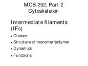 Handout 9 - Intermediate Filaments
