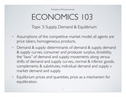 Chapter 3 Supply, Demand & Equilibrium