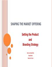 Setting the product and branding strategy