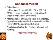Lecture 10 - Additional field trip & announcements (Oct 4)