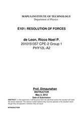 E101 - Resolution of Forces
