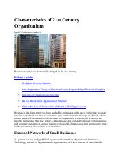 BMGT 364 reading  Characteristics of 21st Century Organizations.docx