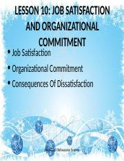 Lesson 10- Job satisfaction and organizational commitment