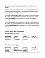 Merchandising versus Manufacturing Income Statements Notes